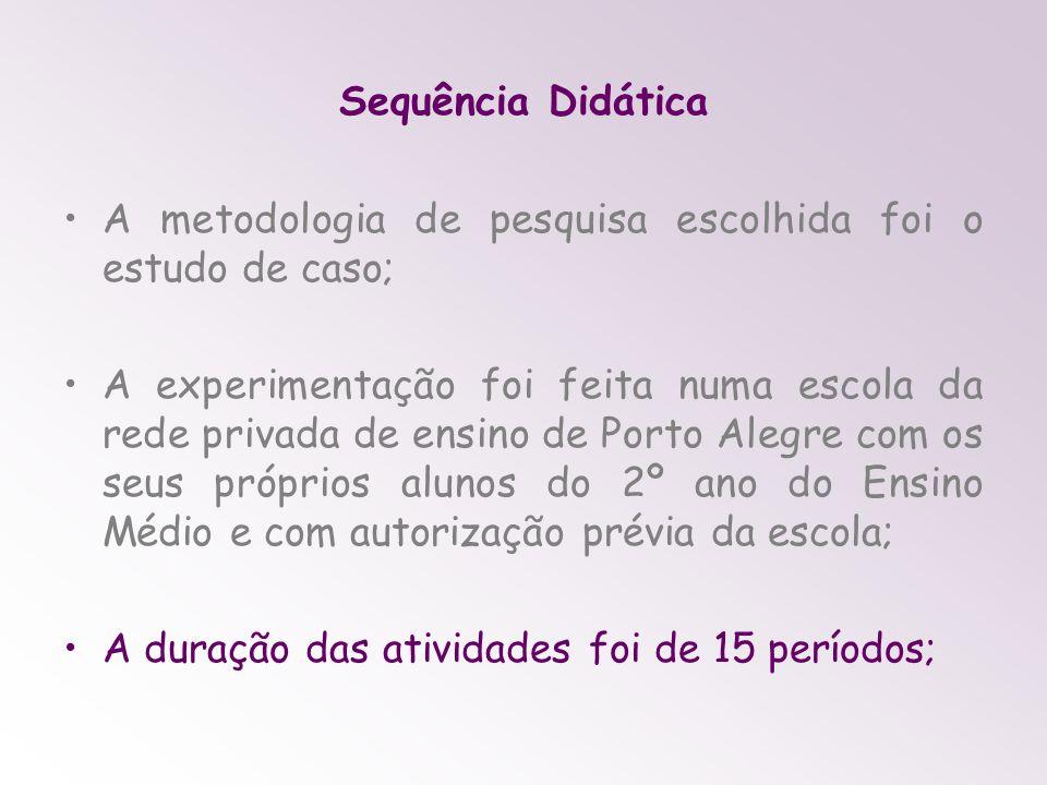 Sequência Didática A metodologia de pesquisa escolhida foi o estudo de caso; A experimentação foi feita numa escola da rede privada de ensino de Porto Alegre com os seus próprios alunos do 2º ano do Ensino Médio e com autorização prévia da escola; A duração das atividades foi de 15 períodos;