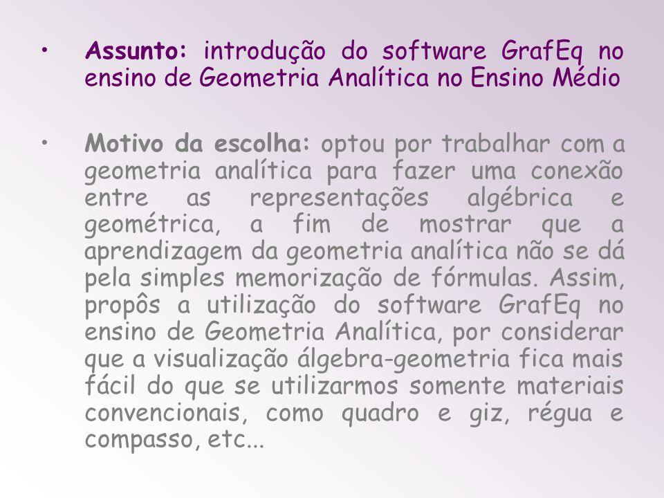 Assunto: introdução do software GrafEq no ensino de Geometria Analítica no Ensino Médio Motivo da escolha: optou por trabalhar com a geometria analíti