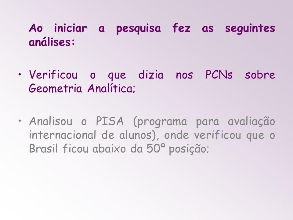 Ao iniciar a pesquisa fez as seguintes análises: Verificou o que dizia nos PCNs sobre Geometria Analítica; Analisou o PISA (programa para avaliação internacional de alunos), onde verificou que o Brasil ficou abaixo da 50º posição;