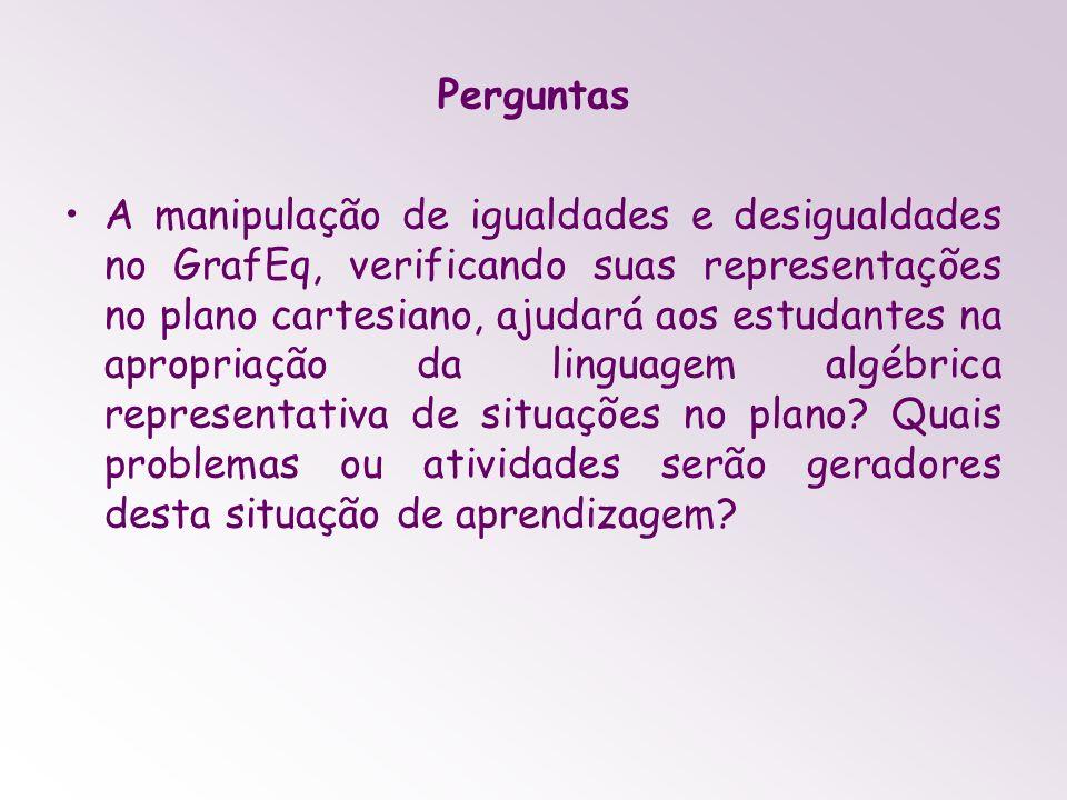 Perguntas A manipulação de igualdades e desigualdades no GrafEq, verificando suas representações no plano cartesiano, ajudará aos estudantes na apropr