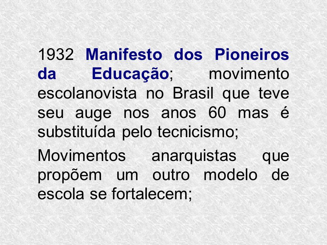1932 Manifesto dos Pioneiros da Educação; movimento escolanovista no Brasil que teve seu auge nos anos 60 mas é substituída pelo tecnicismo; Movimento