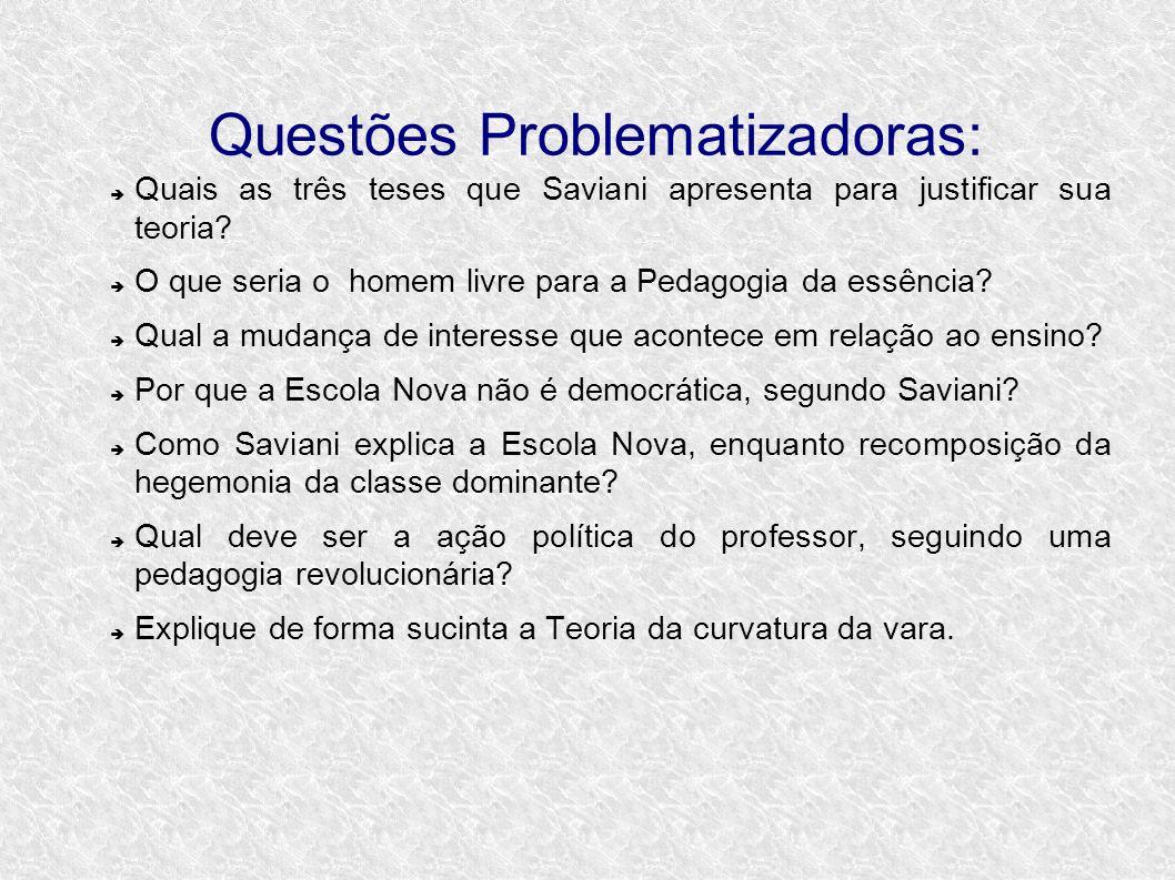 Questões Problematizadoras: Quais as três teses que Saviani apresenta para justificar sua teoria? O que seria o homem livre para a Pedagogia da essênc