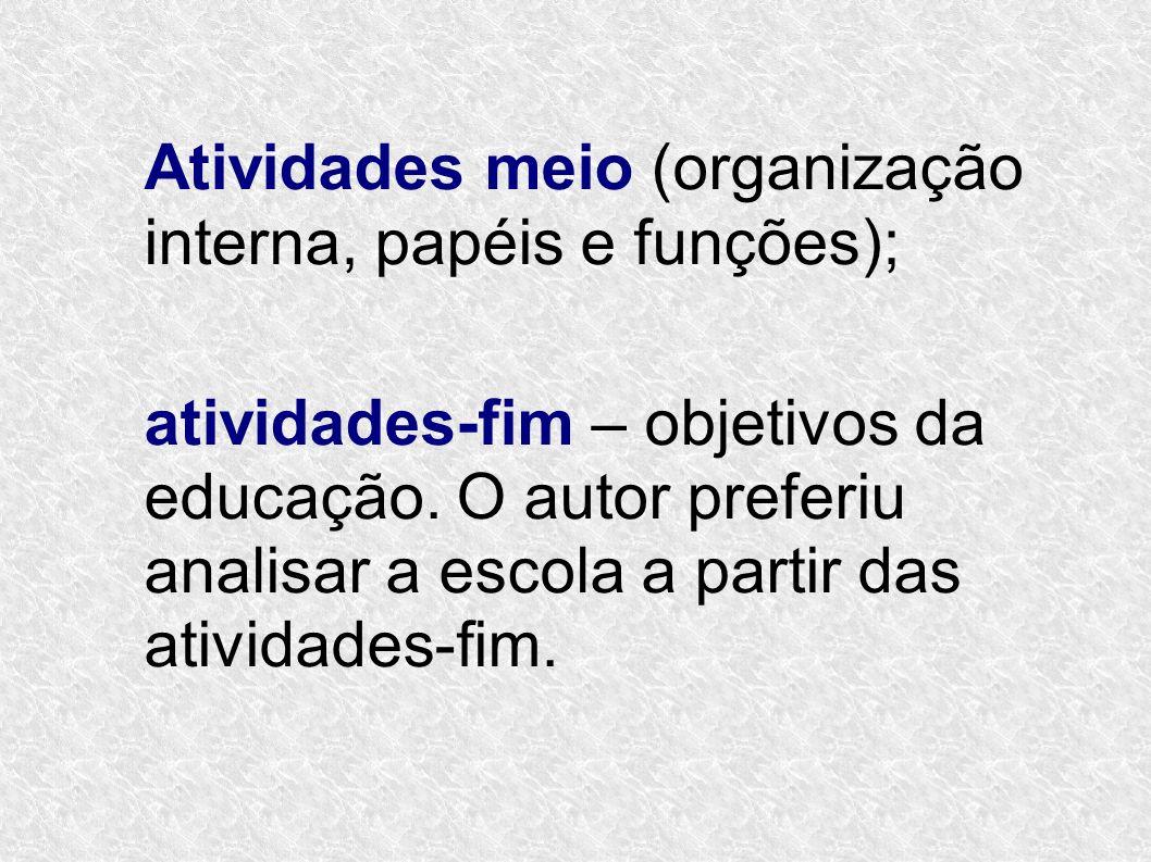 Atividades meio (organização interna, papéis e funções); atividades-fim – objetivos da educação. O autor preferiu analisar a escola a partir das ativi