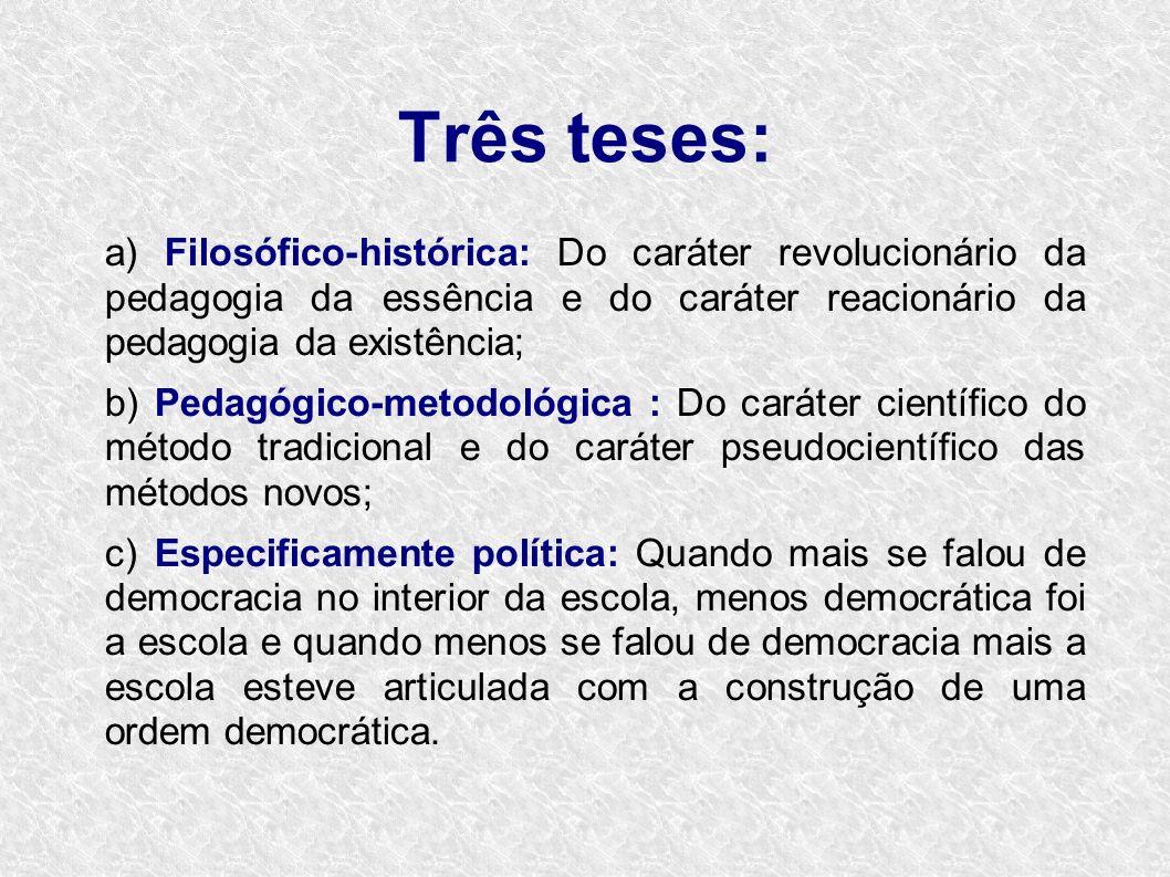 Três teses: a) Filosófico-histórica: Do caráter revolucionário da pedagogia da essência e do caráter reacionário da pedagogia da existência; b) Pedagó