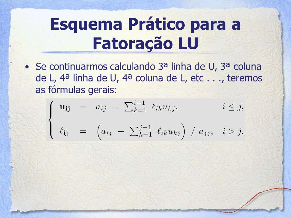Esquema Prático para a Fatoração LU Se continuarmos calculando 3ª linha de U, 3ª coluna de L, 4ª linha de U, 4ª coluna de L, etc..., teremos as fórmul