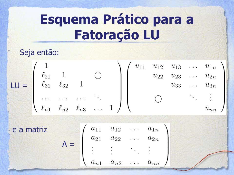Esquema Prático para a Fatoração LU Seja então: LU = e a matriz A =