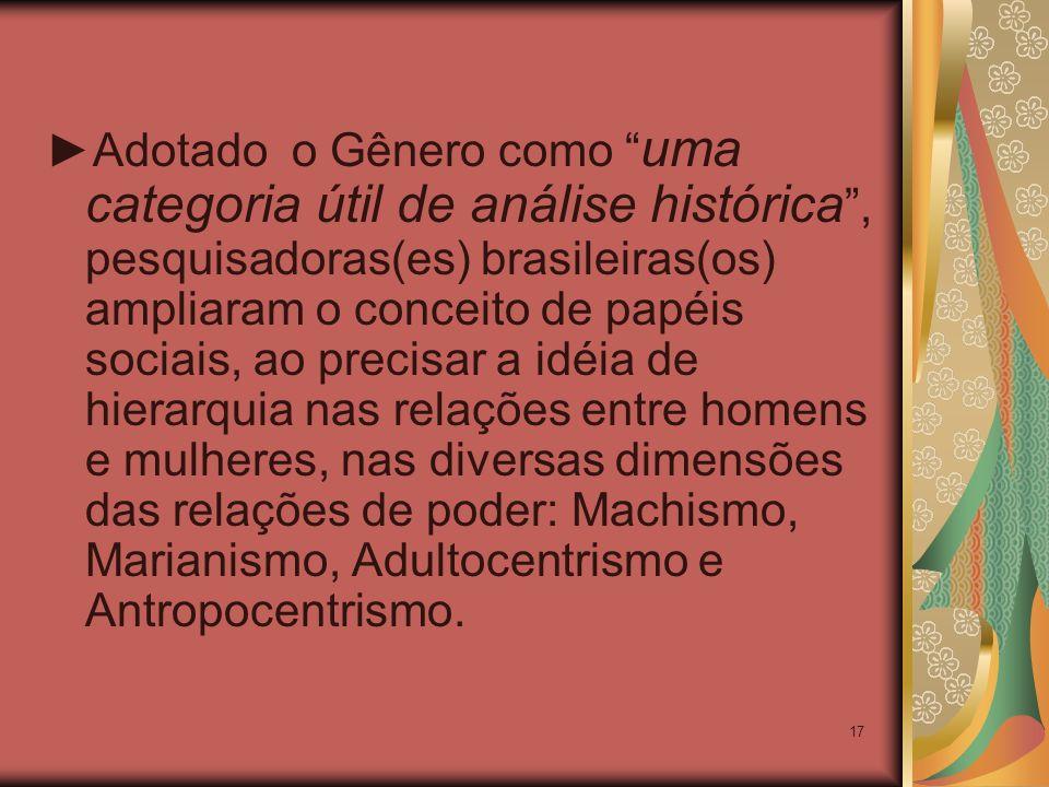 17 Adotado o Gênero como uma categoria útil de análise histórica, pesquisadoras(es) brasileiras(os) ampliaram o conceito de papéis sociais, ao precisa
