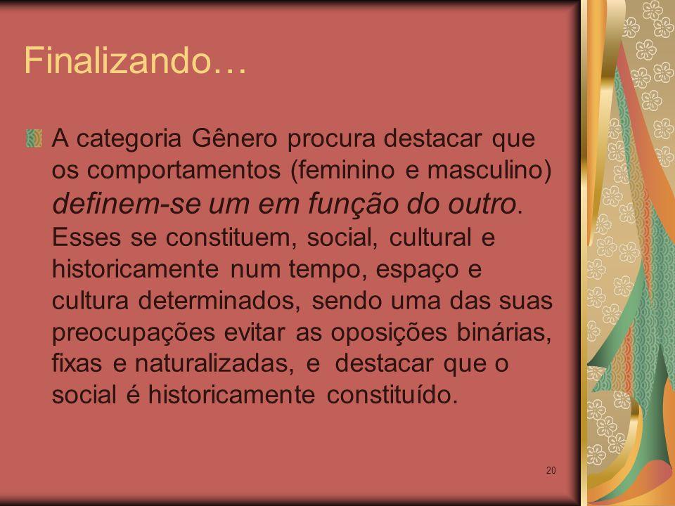 20 Finalizando… A categoria Gênero procura destacar que os comportamentos (feminino e masculino) definem-se um em função do outro. Esses se constituem