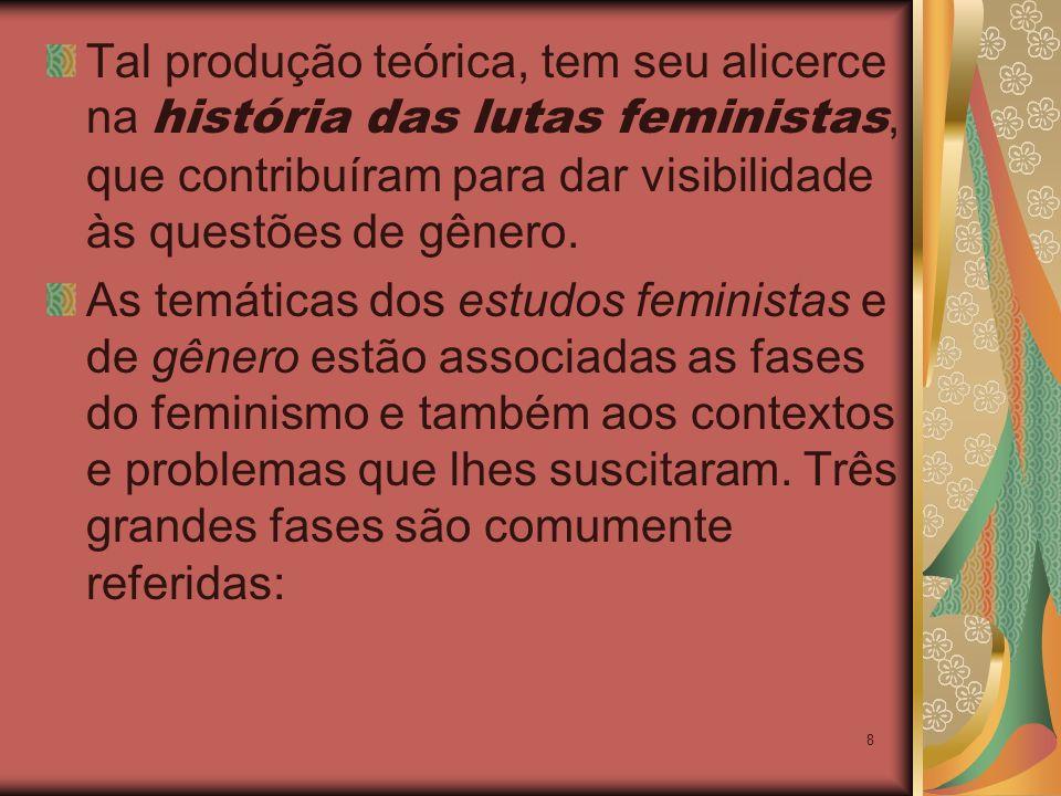 8 Tal produção teórica, tem seu alicerce na história das lutas feministas, que contribuíram para dar visibilidade às questões de gênero. As temáticas