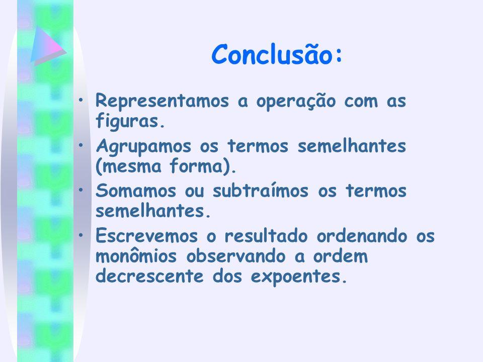 Conclusão: Representamos a operação com as figuras. Agrupamos os termos semelhantes (mesma forma). Somamos ou subtraímos os termos semelhantes. Escrev