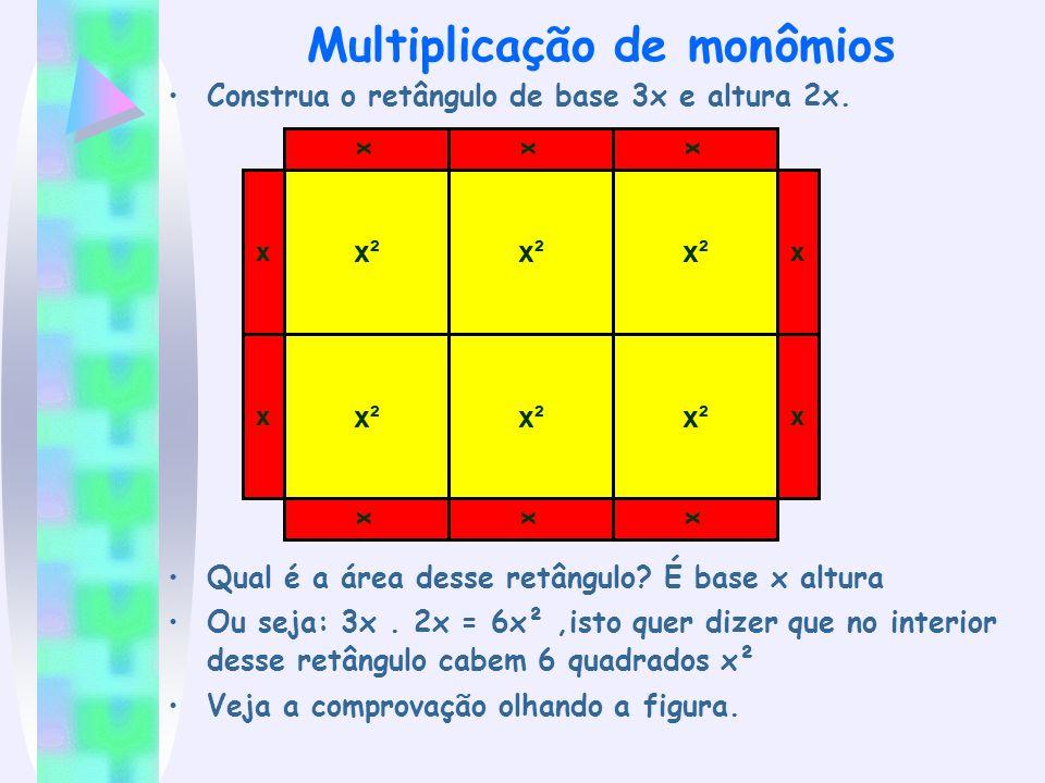Multiplicação de monômios Construa o retângulo de base 3x e altura 2x. Qual é a área desse retângulo? É base x altura Ou seja: 3x. 2x = 6x²,isto quer