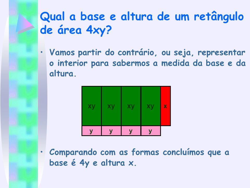 Qual a base e altura de um retângulo de área 4xy? Vamos partir do contrário, ou seja, representar o interior para sabermos a medida da base e da altur