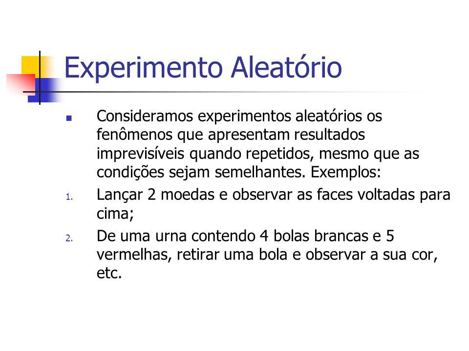 Experimento Aleatório Consideramos experimentos aleatórios os fenômenos que apresentam resultados imprevisíveis quando repetidos, mesmo que as condiçõ