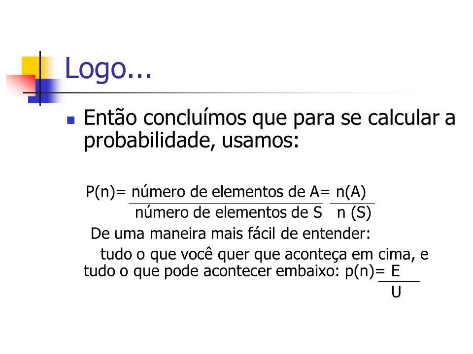 Logo... Então concluímos que para se calcular a probabilidade, usamos: P(n)= número de elementos de A= n(A) número de elementos de S n (S) De uma mane
