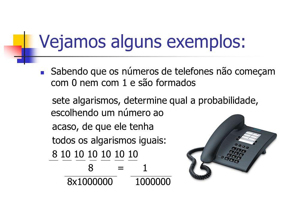 Vejamos alguns exemplos: Sabendo que os números de telefones não começam com 0 nem com 1 e são formados sete algarismos, determine qual a probabilidad