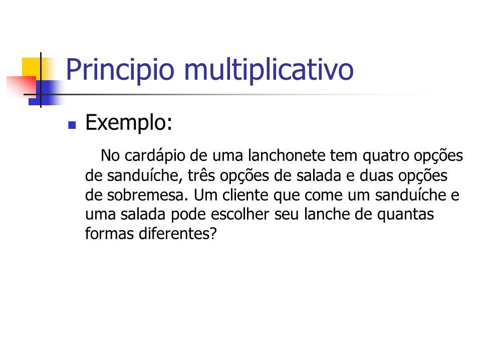 Principio multiplicativo Exemplo: No cardápio de uma lanchonete tem quatro opções de sanduíche, três opções de salada e duas opções de sobremesa. Um c
