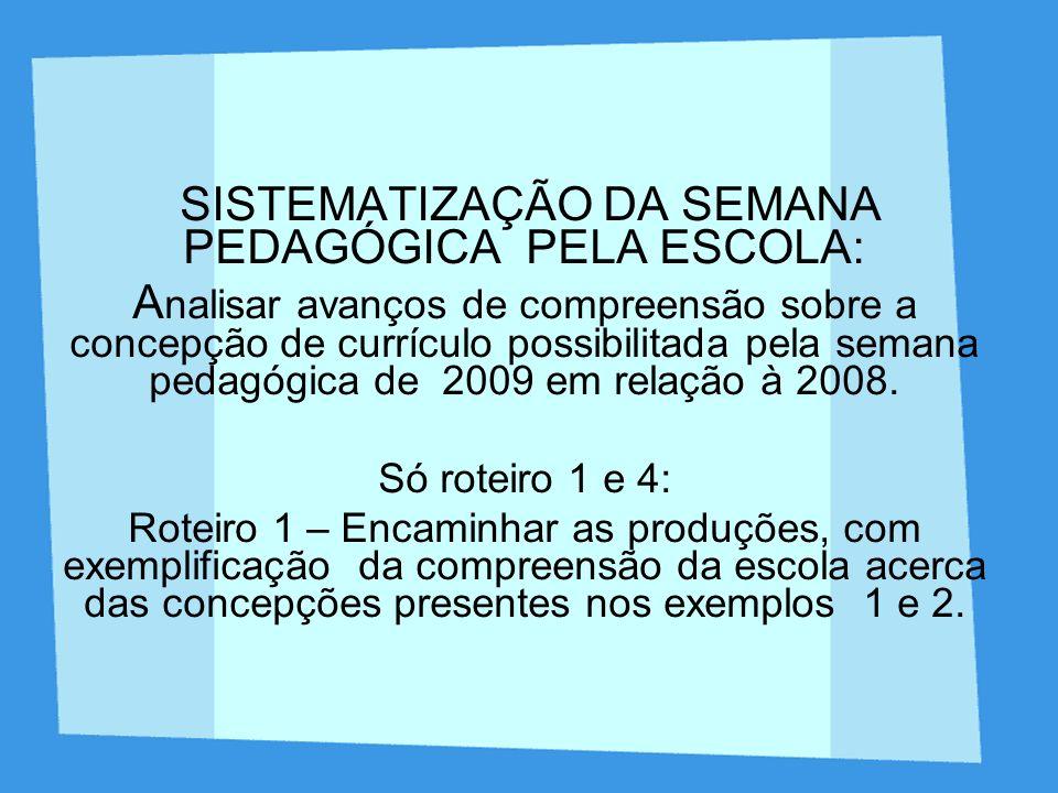 SISTEMATIZAÇÃO DA SEMANA PEDAGÓGICA PELA ESCOLA: A nalisar avanços de compreensão sobre a concepção de currículo possibilitada pela semana pedagógica