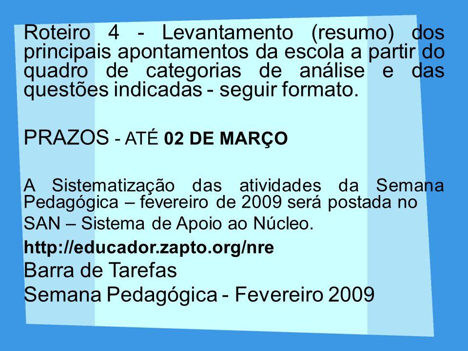 Roteiro 4 - Levantamento (resumo) dos principais apontamentos da escola a partir do quadro de categorias de análise e das questões indicadas - seguir