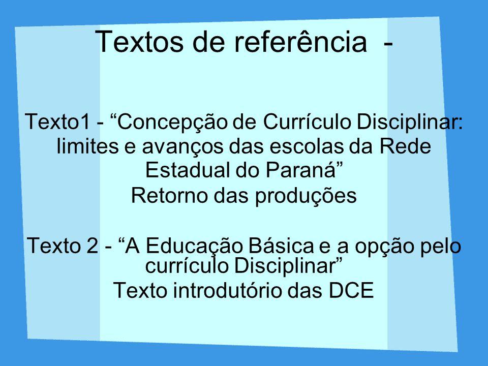 - ANÁLISE COMPARATIVA DE CONCEPÇÕES DE CURRÍCULO PRESENTES NOS EXEMPLOS 1 E 2 Exemplo 1 - Currículo Disciplinar - concepção crítica de currículo - Escola Guaicuru - Estado do Mato Grosso do Sul com consultoria de Lígia Klein Exemplo 2 - Currículo Multidsiciplinar - recorte de um exemplo da Pedagogia de Projetos