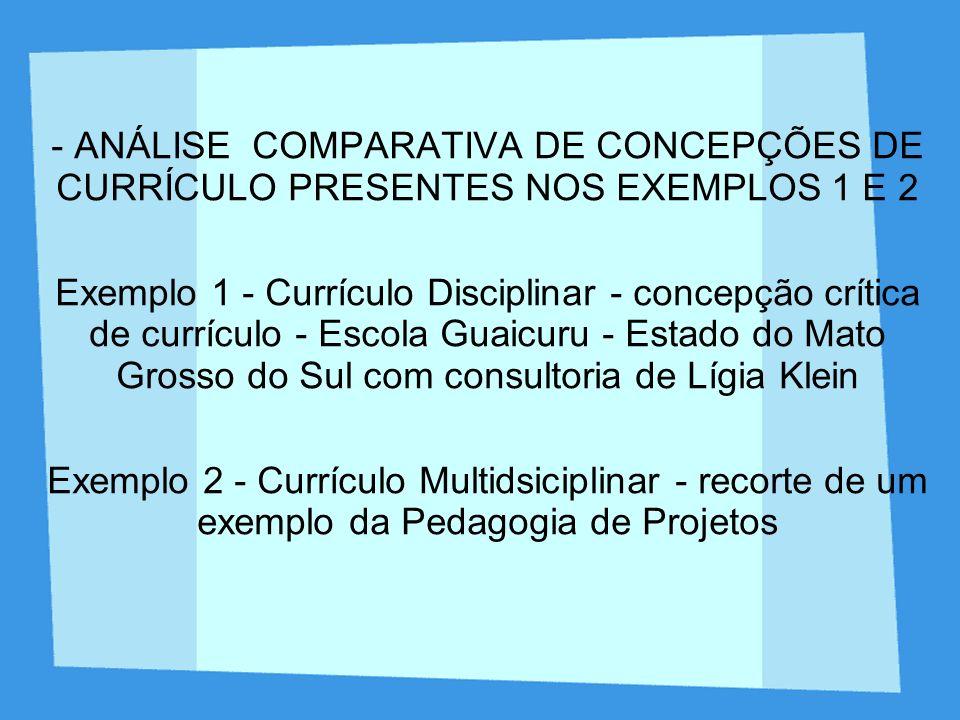Proposta de trabalho - Atividade 1 - comparação dos dois exemplos a partir de categorias que organizam o currículo.