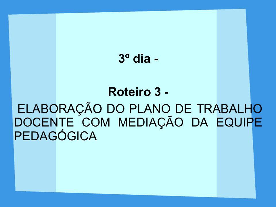 3º dia - Roteiro 3 - ELABORAÇÃO DO PLANO DE TRABALHO DOCENTE COM MEDIAÇÃO DA EQUIPE PEDAGÓGICA
