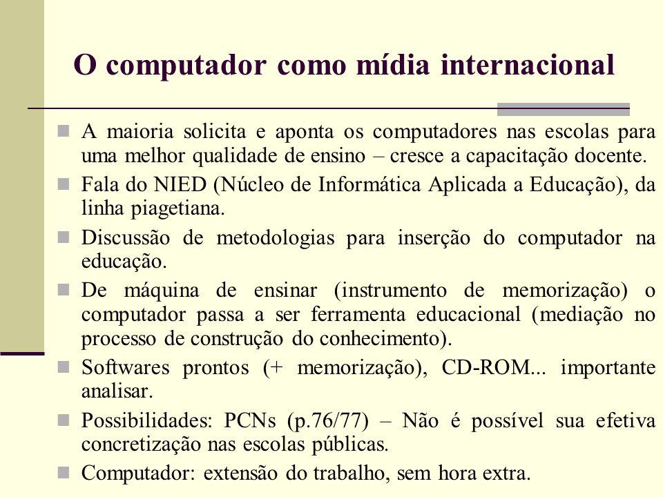O computador como mídia internacional A maioria solicita e aponta os computadores nas escolas para uma melhor qualidade de ensino – cresce a capacitaç