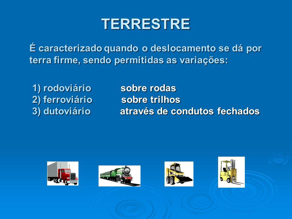 TERRESTRE É caracterizado quando o deslocamento se dá por terra firme, sendo permitidas as variações: 1) rodoviário sobre rodas 2) ferroviário sobre t