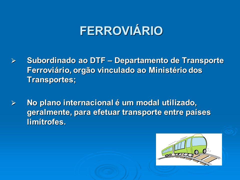 FERROVIÁRIO Subordinado ao DTF – Departamento de Transporte Ferroviário, orgão vinculado ao Ministério dos Transportes; Subordinado ao DTF – Departame