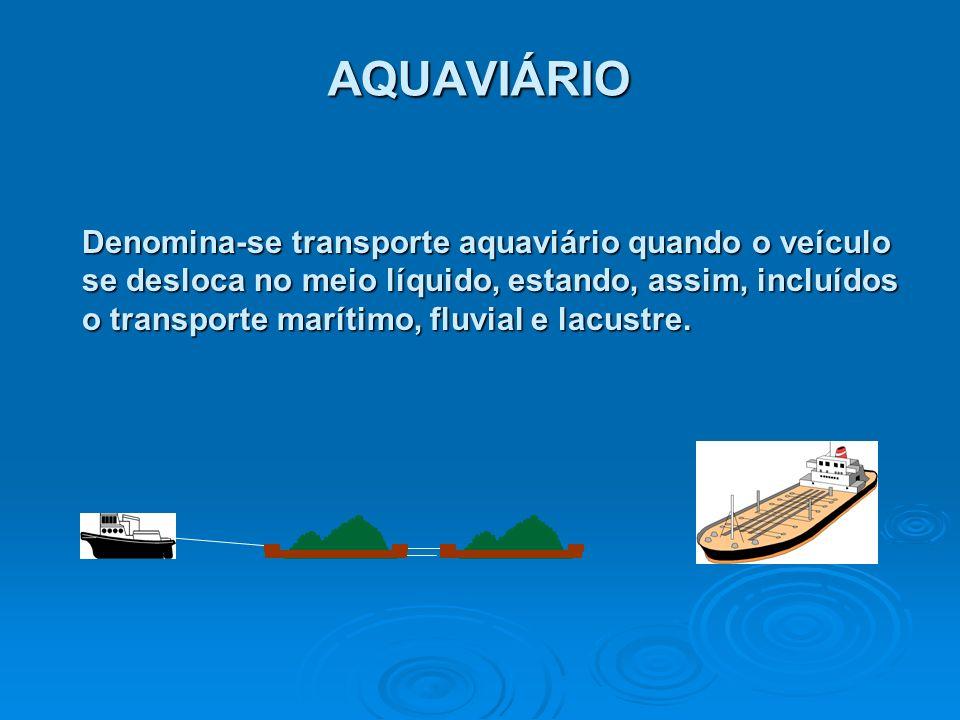 AQUAVIÁRIO Denomina-se transporte aquaviário quando o veículo se desloca no meio líquido, estando, assim, incluídos o transporte marítimo, fluvial e l