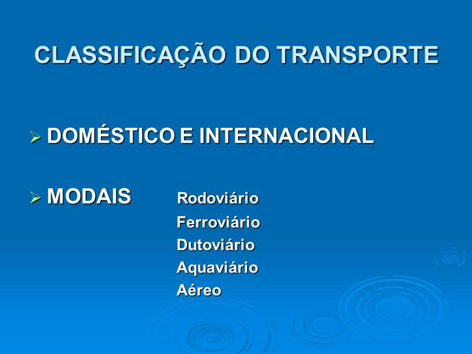 CLASSIFICAÇÃO DO TRANSPORTE DOMÉSTICO E INTERNACIONAL DOMÉSTICO E INTERNACIONAL MODAIS Rodoviário MODAIS Rodoviário Ferroviário Ferroviário Dutoviário