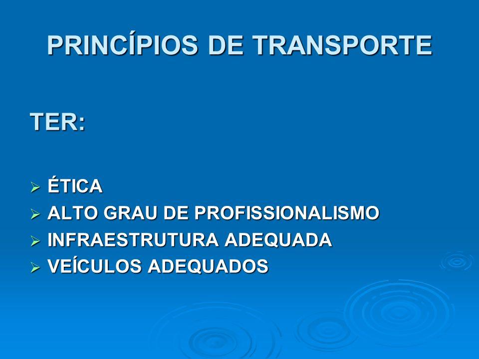 PRINCÍPIOS DE TRANSPORTE TER: ÉTICA ÉTICA ALTO GRAU DE PROFISSIONALISMO ALTO GRAU DE PROFISSIONALISMO INFRAESTRUTURA ADEQUADA INFRAESTRUTURA ADEQUADA