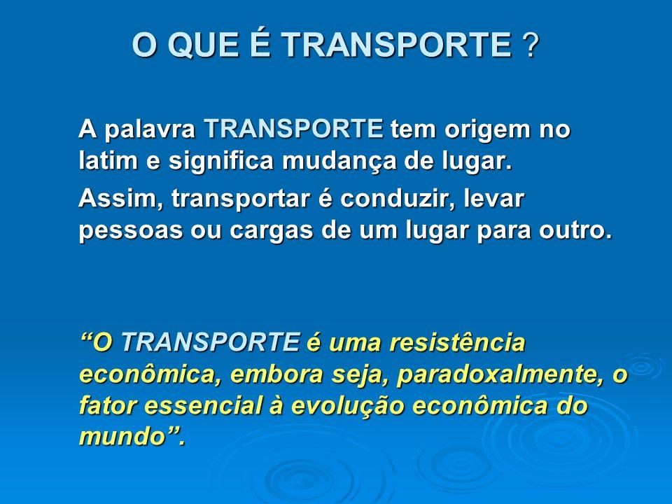 O QUE É TRANSPORTE ? A palavra TRANSPORTE tem origem no latim e significa mudança de lugar. Assim, transportar é conduzir, levar pessoas ou cargas de