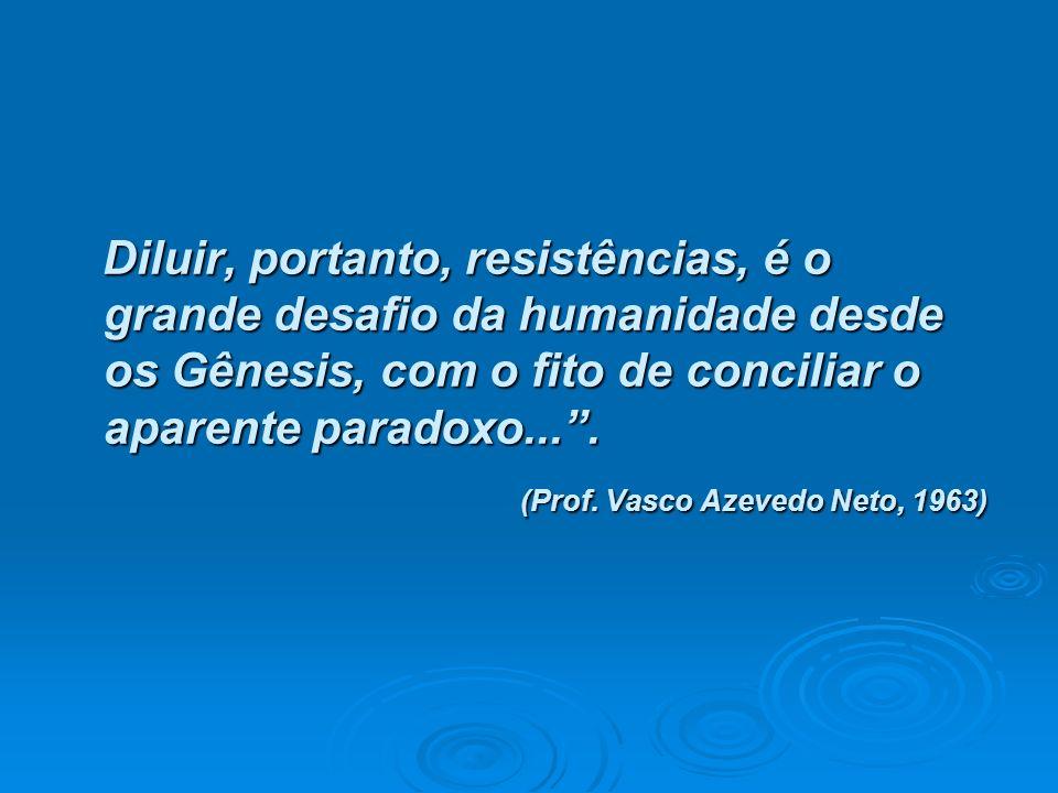 Diluir, portanto, resistências, é o grande desafio da humanidade desde os Gênesis, com o fito de conciliar o aparente paradoxo.... Diluir, portanto, r