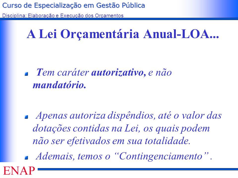 Curso de Especialização em Gestão Pública Disciplina: Elaboração e Execução dos Orçamentos A Lei Orçamentária Anual-LOA... Tem caráter autorizativo, e