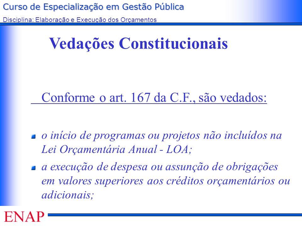 Curso de Especialização em Gestão Pública Disciplina: Elaboração e Execução dos Orçamentos Vedações Constitucionais Conforme o art. 167 da C.F., são v