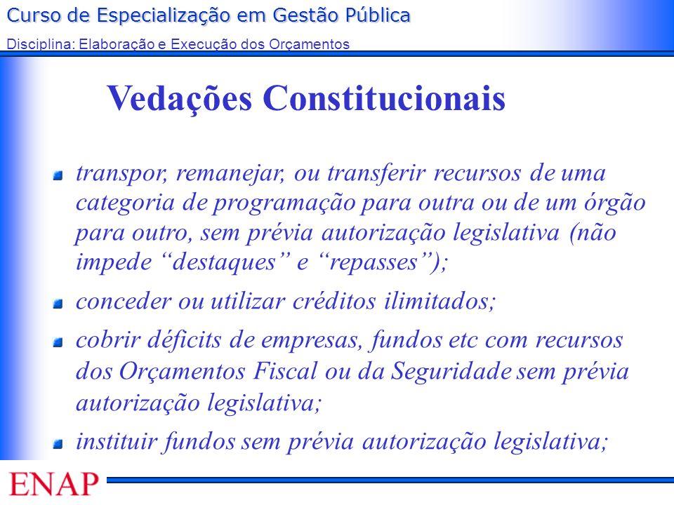 Curso de Especialização em Gestão Pública Disciplina: Elaboração e Execução dos Orçamentos Vedações Constitucionais transpor, remanejar, ou transferir