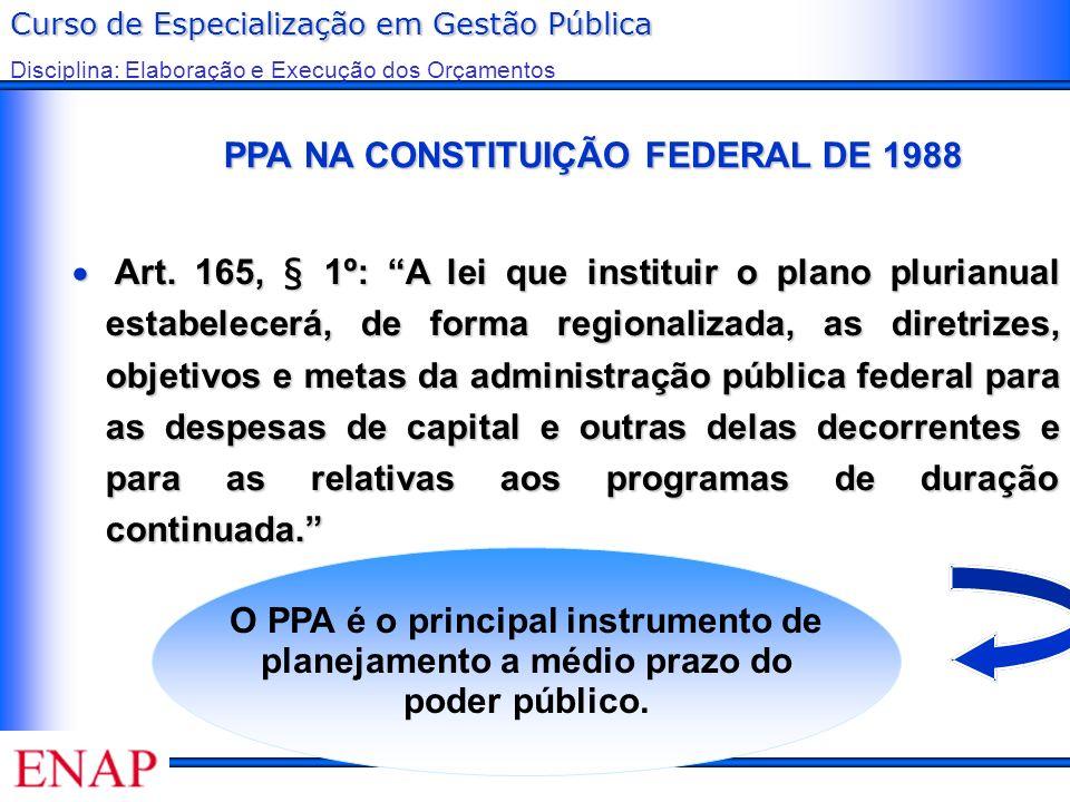 Curso de Especialização em Gestão Pública Disciplina: Elaboração e Execução dos Orçamentos PPA NA CONSTITUIÇÃO FEDERAL DE 1988 PPA NA CONSTITUIÇÃO FED
