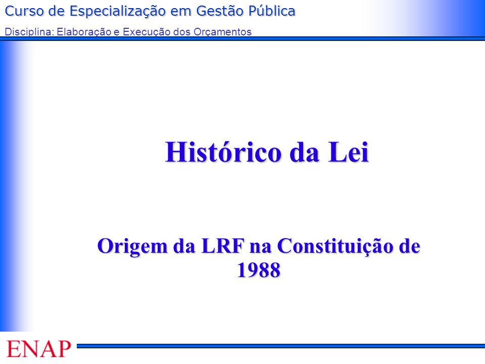 Curso de Especialização em Gestão Pública Disciplina: Elaboração e Execução dos Orçamentos Histórico da Lei Origem da LRF na Constituição de 1988