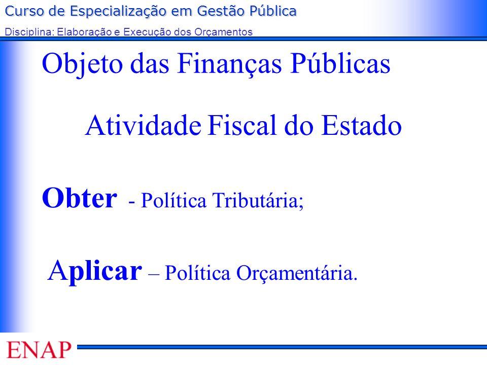 Curso de Especialização em Gestão Pública Disciplina: Elaboração e Execução dos Orçamentos Objeto das Finanças Públicas Atividade Fiscal do Estado Obt