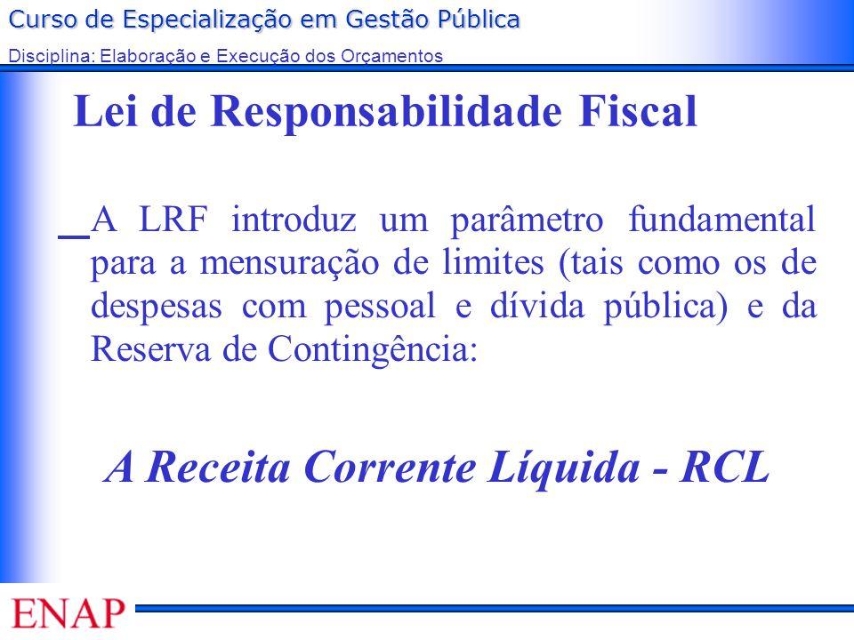 Curso de Especialização em Gestão Pública Disciplina: Elaboração e Execução dos Orçamentos Lei de Responsabilidade Fiscal A LRF introduz um parâmetro