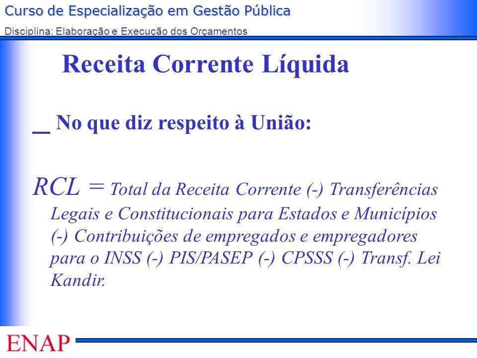 Curso de Especialização em Gestão Pública Disciplina: Elaboração e Execução dos Orçamentos Receita Corrente Líquida No que diz respeito à União: RCL =