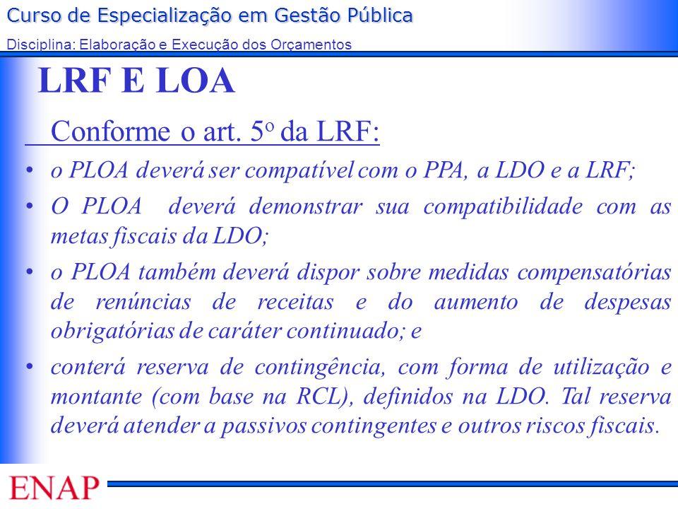 Curso de Especialização em Gestão Pública Disciplina: Elaboração e Execução dos Orçamentos LRF E LOA Conforme o art. 5 o da LRF: o PLOA deverá ser com