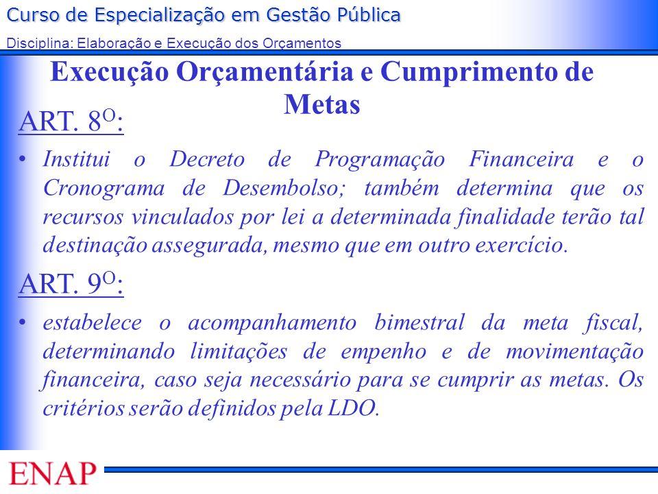 Curso de Especialização em Gestão Pública Disciplina: Elaboração e Execução dos Orçamentos Execução Orçamentária e Cumprimento de Metas ART. 8 O : Ins