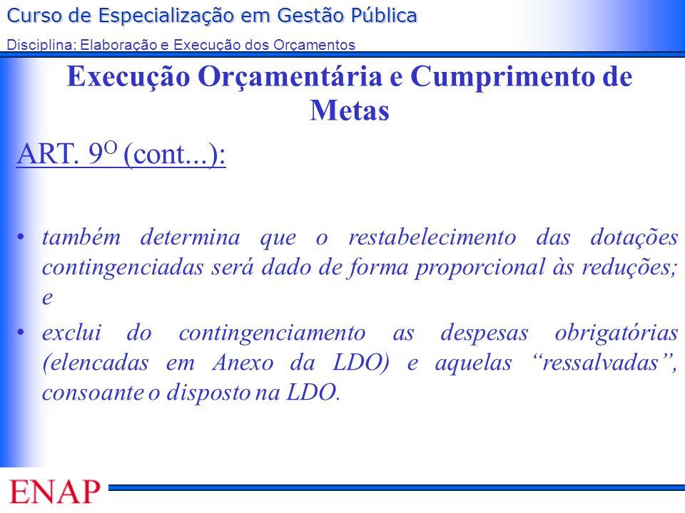 Curso de Especialização em Gestão Pública Disciplina: Elaboração e Execução dos Orçamentos Execução Orçamentária e Cumprimento de Metas ART. 9 O (cont