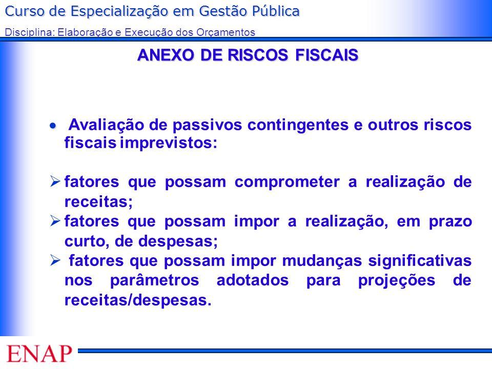 Curso de Especialização em Gestão Pública Disciplina: Elaboração e Execução dos Orçamentos ANEXO DE RISCOS FISCAIS ANEXO DE RISCOS FISCAIS Avaliação d