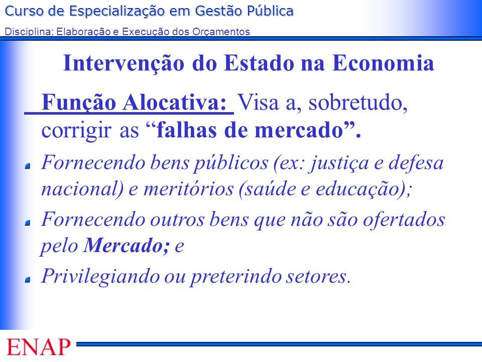 Curso de Especialização em Gestão Pública Disciplina: Elaboração e Execução dos Orçamentos Intervenção do Estado na Economia Função Alocativa: Visa a,