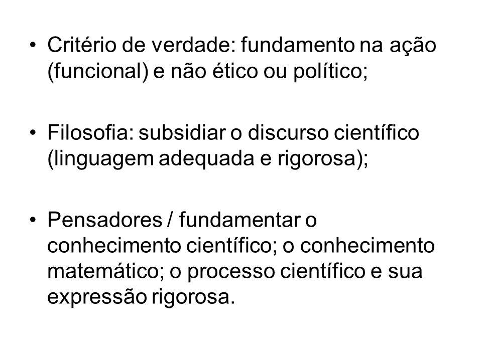 Critério de verdade: fundamento na ação (funcional) e não ético ou político; Filosofia: subsidiar o discurso científico (linguagem adequada e rigorosa