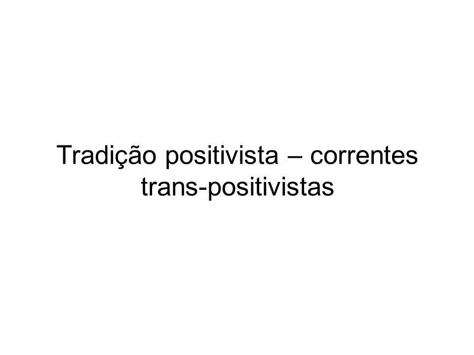 Tradição positivista – correntes trans-positivistas