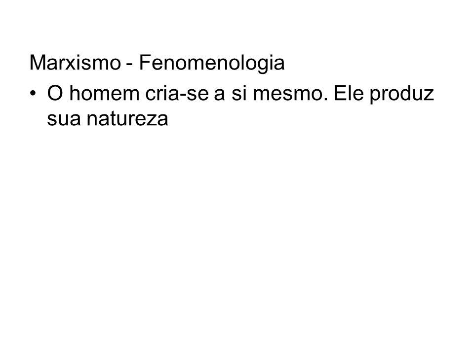 Marxismo - Fenomenologia O homem cria-se a si mesmo. Ele produz sua natureza
