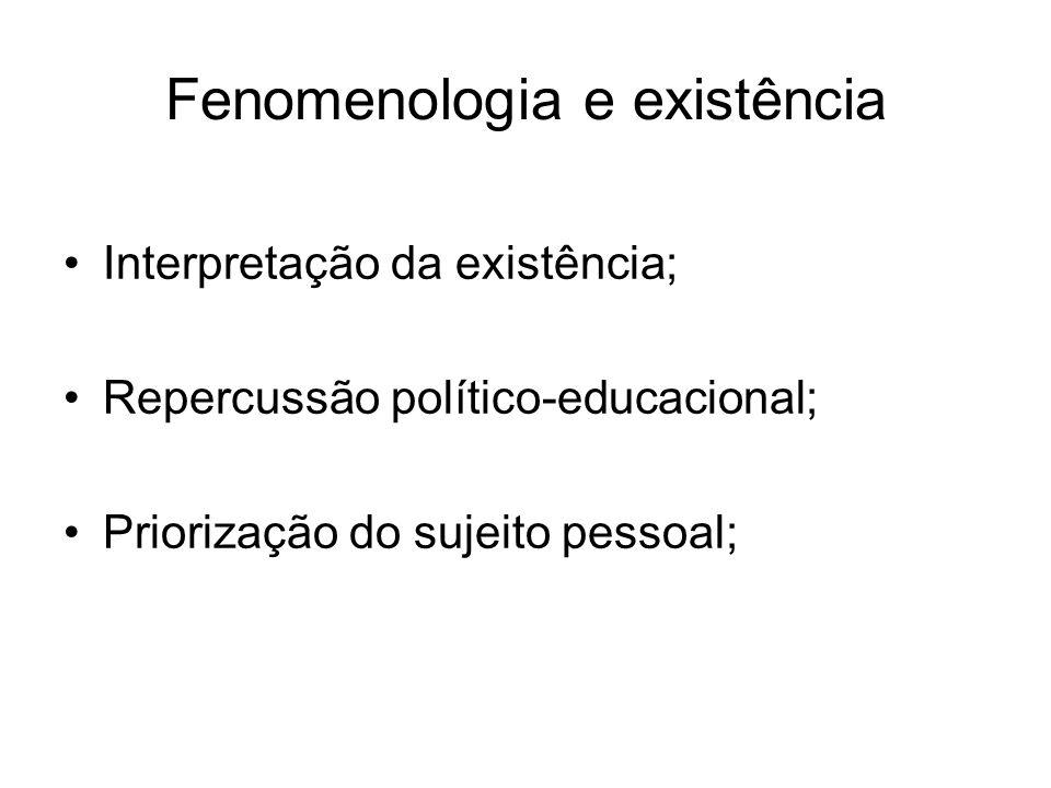 Fenomenologia e existência Interpretação da existência; Repercussão político-educacional; Priorização do sujeito pessoal;
